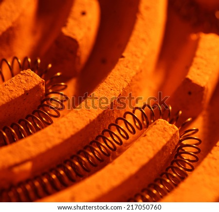 Close up of a heating coil element - stock photo