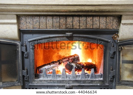 close up of a home fireplace for cold days - stock photo
