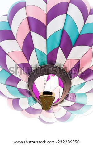 close up of a hot air balloon in mid air in Albuquerque New Mexico - stock photo