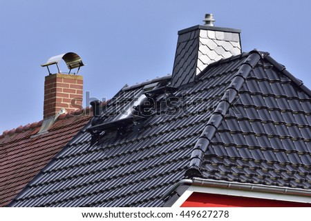 Close up of a house roof - stock photo