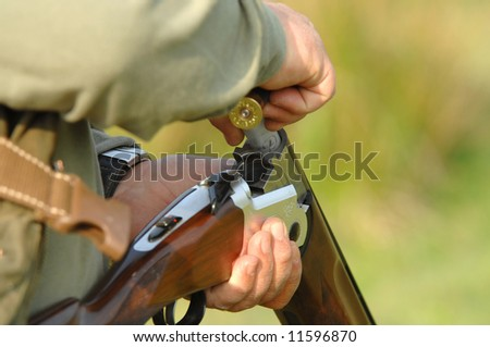 Close up of a hunter loading his weapon