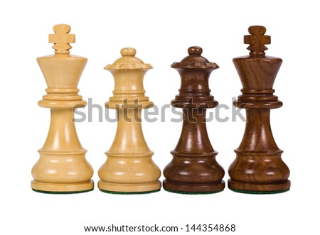 Close-up of a king and a queen chess pieces - stock photo