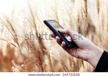 Close up of a lady using mobile smart phone - stock photo