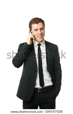 Close up of a laughing businessman on the phone isolated on white background - stock photo