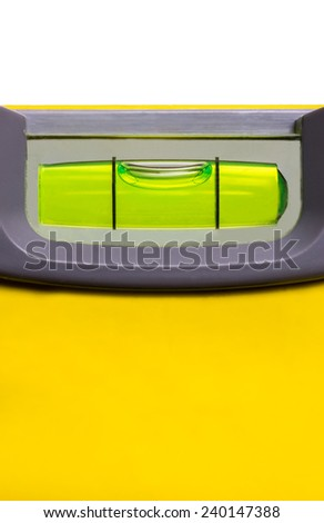 Close up of a level indicating a perfectly level surface. - stock photo
