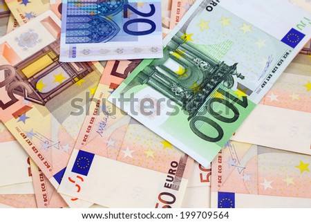 close-up of a lot of euro banknotes