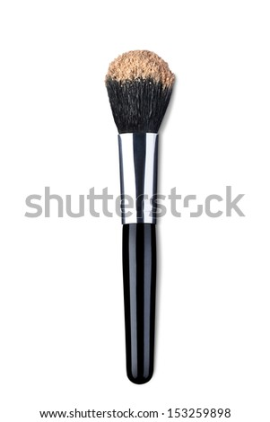 close up of  a make up powder brush on white background