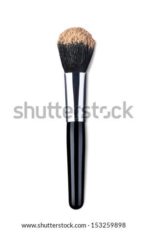 close up of  a make up powder brush on white background - stock photo