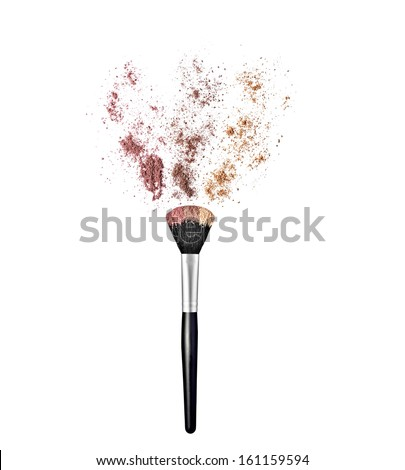 close up of  a make up powder brush on white background - stock photo