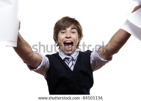 Close-up of a man crying joyfully - stock photo