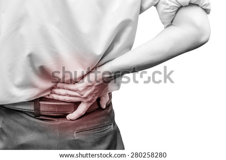 close up of a  man holding his back in pain, isolated on white background, monochrome photo with red as a symbol for the hardening