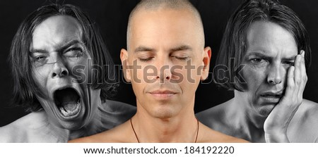 Close-up of a man in three conflicting emotional states: calm / meditative, pain, and depression. Pain and depression are in black and white. The meditative state is in color. - stock photo