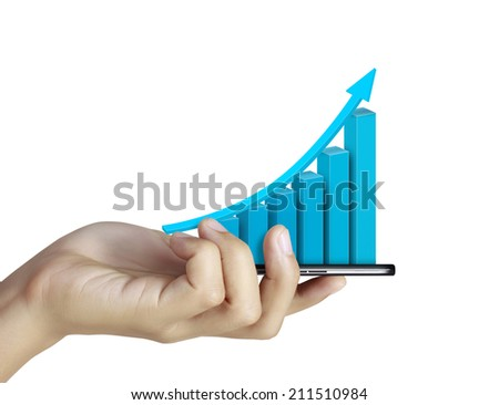 Close up of a man using mobile smart phone,show business graph - stock photo