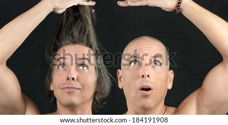 Close-up of a man with long hair held up, next to the same man with a newly shaved head. - stock photo