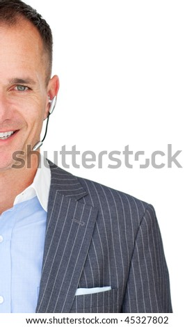Close-up of a mature businessman with headset on against a white background - stock photo