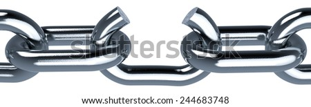 close-up of a metal chain with a broken link, concept of freedom (3d render) - stock photo