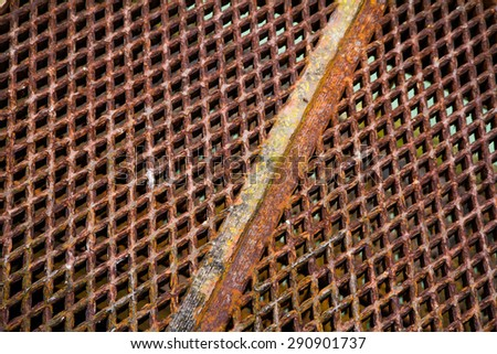 Close up of a metal grid