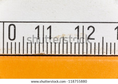 Close up of a metric measure, detail shot