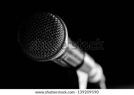 Close-Up of a Microphone - stock photo