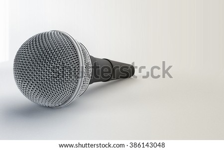 Close Up of a microphone on white studio