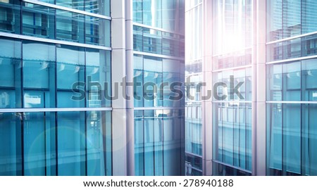 Close up of a modern business building blue color