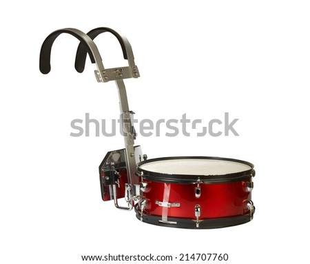 Close-up of a musical instrument, marching snare drum, isolated on white background. - stock photo