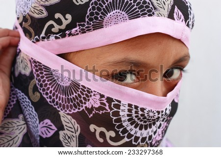 close up of a muslim girl - stock photo