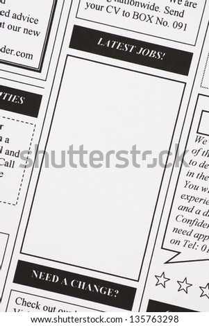 Close up of a newspaper page with copy space advertising the latest job opportunities for your job search - stock photo