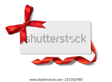 close up of a note card with ribbon bow on white background - stock photo