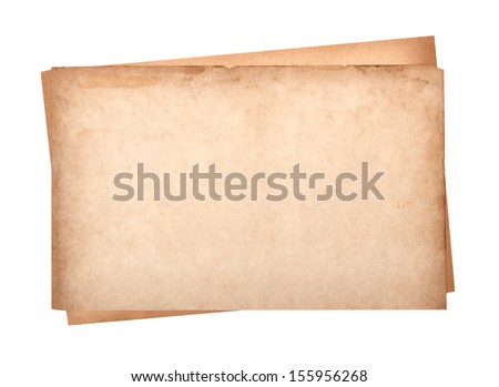 close up of a old paper on white background - stock photo