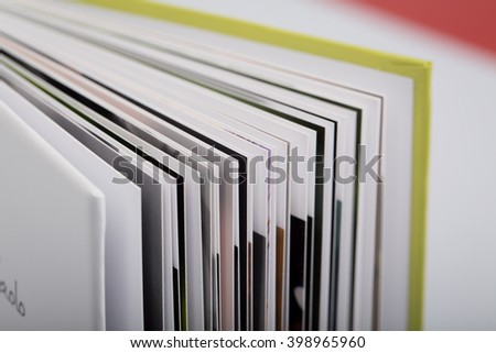 Close up of a open book with pages