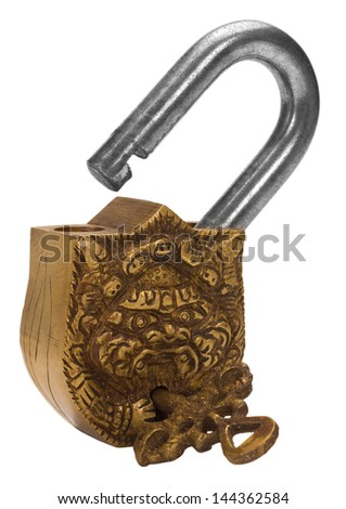 Close-up of a padlock with a key - stock photo