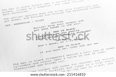 Close-up of a page from a screenplay or script in proper Hollywood format, with generic text written by the photographer to avoid any copyright issues. - stock photo