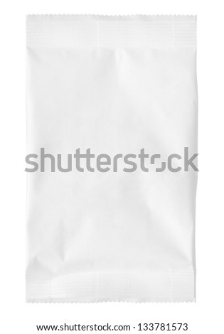 close up of a paper bag on white background