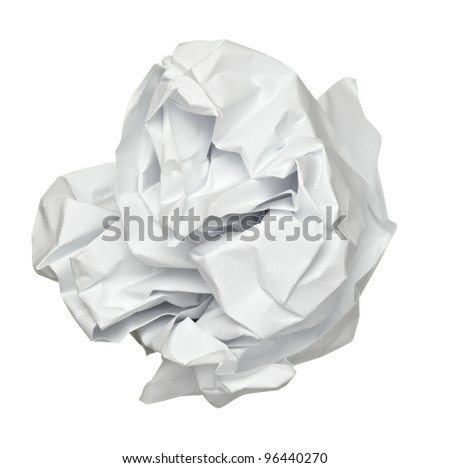 close up of a paper ball on white background with clipping path - stock photo