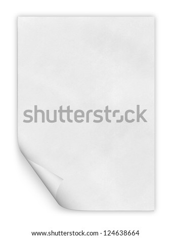 close up of a paper with curled edge on white background - stock photo