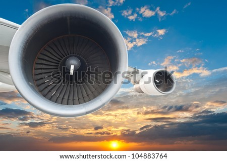 Close-up of a passenger airplane in the sky - stock photo