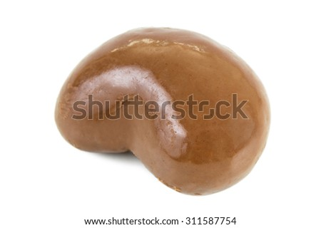Close-up of a peanut covered in milk chocolate, isolated on white background. - stock photo