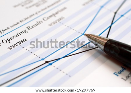 Close-up of a pen on financial report.