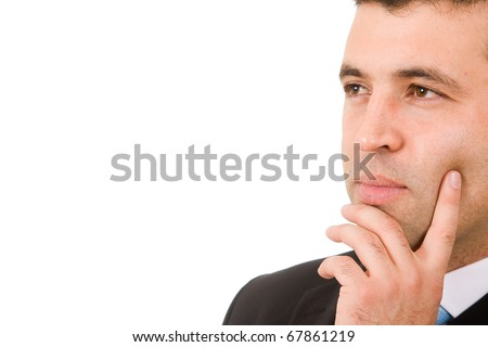 Close up of a pensive young business man portrait in white background - stock photo