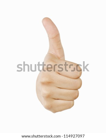 Close-up of a person's hand making the thumbs up sign
