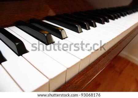 Close up of a piano keyboard - stock photo