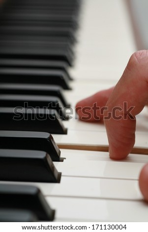 close-up of a Piano-keyboard, very shallow DOF! - stock photo