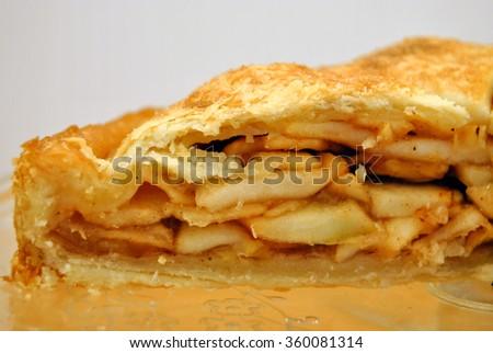 Close up of a piece of apple pie, food, dessert - stock photo