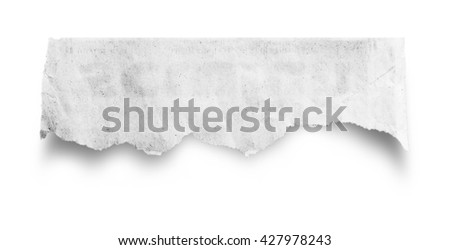 close up of a piece of old paper on white background with clipping path.