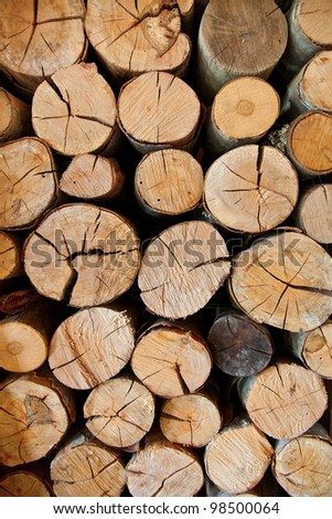 Close up of a pile of sawn logs ready for the fire. - stock photo