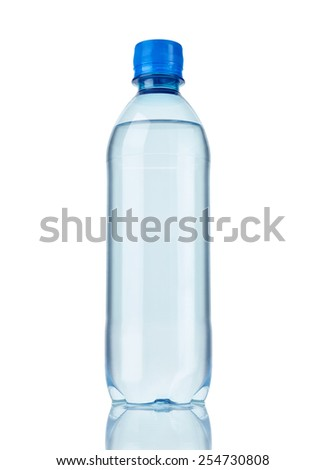 close up of  a plastic bottle on white background - stock photo