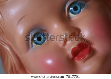 Close up of a plastic doll. - stock photo