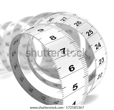Close up of a plastic tape measure over white background, decorative design element for bottom left angle of a page. Dieting concept.