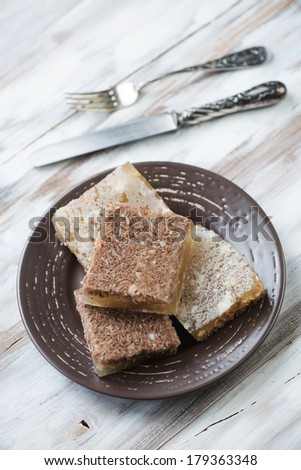 Close-up of a plate with sliced meat jelly, vertical shot - stock photo
